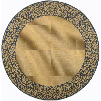 Courtyard Brown / Black Outdoor Area Rug Rug Size: Round 5'3