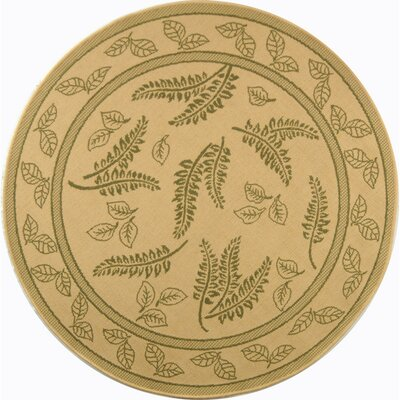 Courtyard Ivory / Olive Outdoor Area Rug Rug Size: Round 5'3