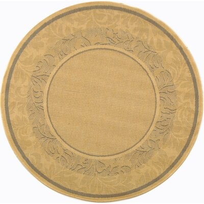 Courtyard Light Brown Outdoor Area Rug Rug Size: Round 5'3