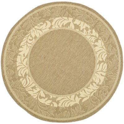 Courtyard Brown / Tan Outdoor Area Rug Rug Size: Round 5'3