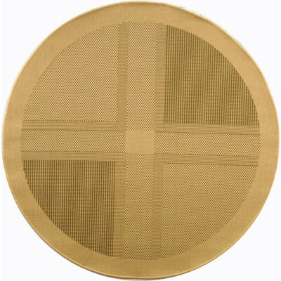 Courtyard Natural / Olive Outdoor Area Rug Rug Size: Round 5'3