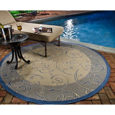 Poole Natural / Blue Outdoor Area Rug Rug Size: 2' x 3'7