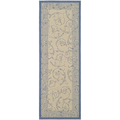 Poole Natural / Blue Outdoor Area Rug Rug Size: Runner 23 x 14