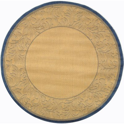 Courtyard Natural / Blue Outdoor Area Rug Rug Size: Round 6'7