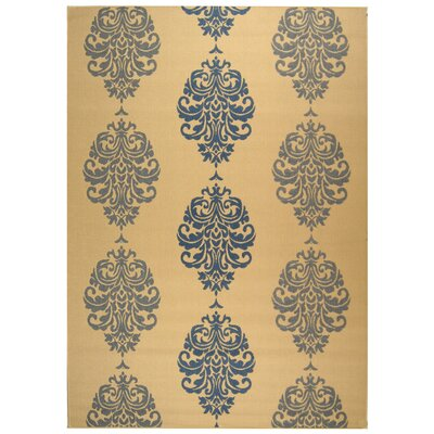 Courtyard Natural / Blue Outdoor Area Rug Rug Size: 7'10