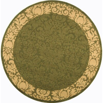 Courtyard Olive / Natural Outdoor Area Rug Rug Size: Round 5'3