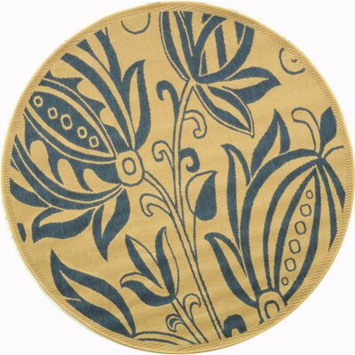 Courtyard Natural / Blue Outdoor Area Rug Rug Size: Round 5'3