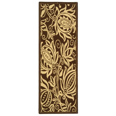Courtyard Chocolate/Natural Outdoor Area Rug Rug Size: Runner 2'-3