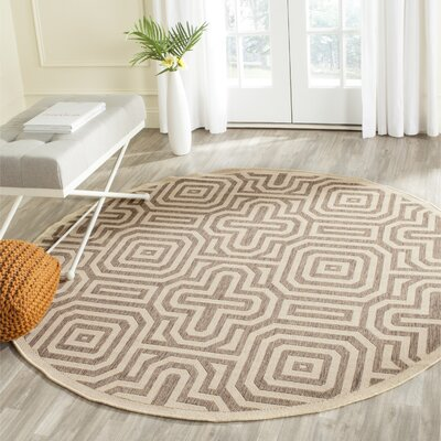 Jefferson Place Natural & Brown Outdoor Area Rug Rug Size: Round 6