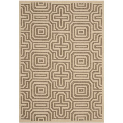 Jefferson Place Natural & Brown Outdoor Area Rug Rug Size: 53 x 77
