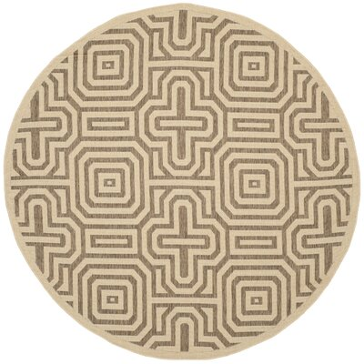 Jefferson Place Natural/Brown Indoor/Outdoor Area Rug Rug Size: Round 53