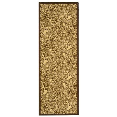 Courtyard Natural / Brown Outdoor Area Rug Rug Size: Runner 2'4