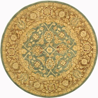 Anatolia Blue / Brown Area Rug Rug Size: Round 4