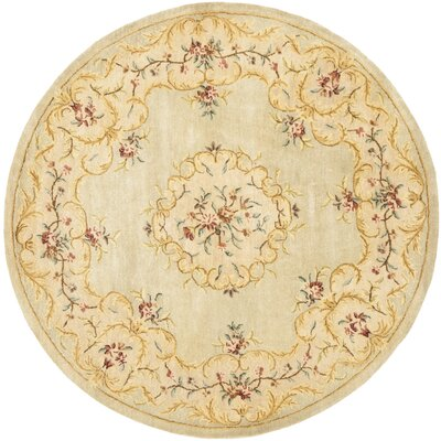 Bergama Light Green/Beige Area Rug Rug Size: Round 4'