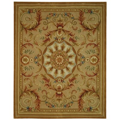 Savonnerie Handmade Beige/Gold Floral Area Rug Rug Size: Round 8