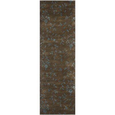 Alvan Hand-Tufted Brown / Light Blue Area Rug Rug Size: Runner 26 x 12
