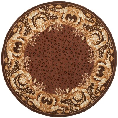 Naples Assorted Brown Area Rug Rug Size: Round 8