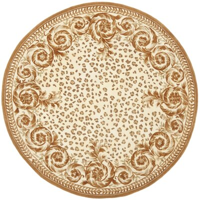 Naples Sand/Stone Area Rug Rug Size: Round 8