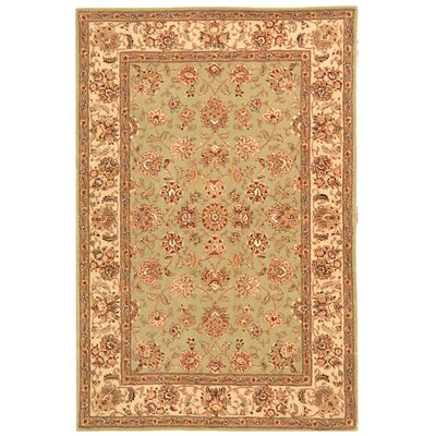 Persian Court Light Green/Ivory Kashan Area Rug Rug Size: Round 4