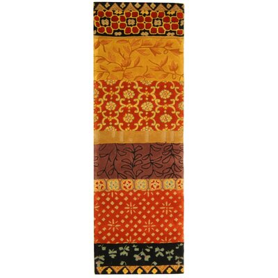 Rodeo Drive Collage Rust/Gold Area Rug Rug Size: Runner 2'6