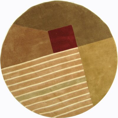 Rodeo Drive Trio Beige/Gold Area Rug Rug Size: Round 59