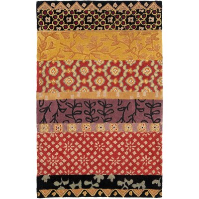 Rodeo Drive Collage Rust/Gold Area Rug Rug Size: 3'6
