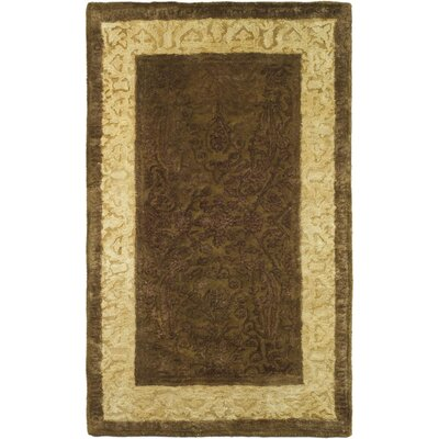 Silk Road Chocolate/Light Gold Area Rug Rug Size: Oval 46 x 66
