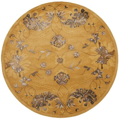 Silk Road Gold Area Rug Rug Size: Round 6