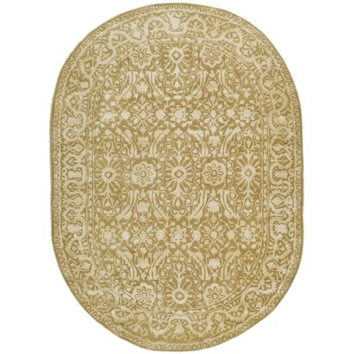Silk Road Ivory Area Rug Rug Size: Oval 76 x 96