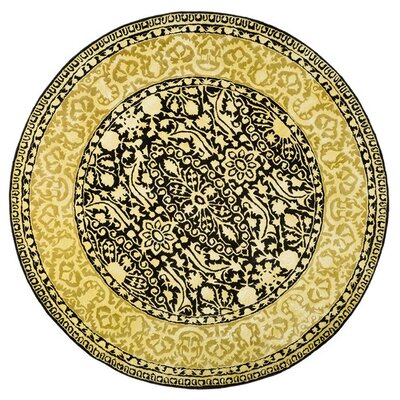 Silk Road Black/Ivory Area Rug Rug Size: Round 36