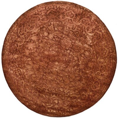 Silk Road Rust Area Rug Rug Size: Round 8