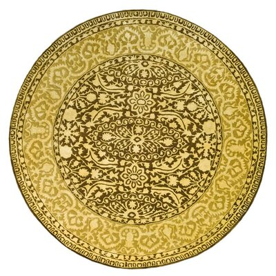 Silk Road Brown/Ivory Area Rug Rug Size: Round 6'