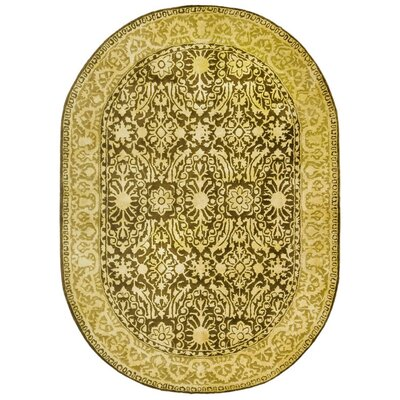 Silk Road Brown/Ivory Area Rug Rug Size: Oval 76 x 96