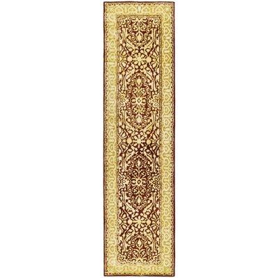 Sik Road Maroom/Ivory Area Rug Rug Size: Runner 26 x 10