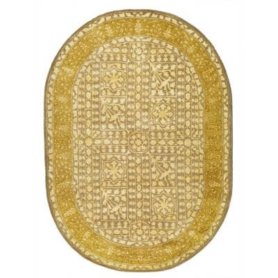 Silk Road Beige/Light Gold Area Rug Rug Size: Oval 76 x 96