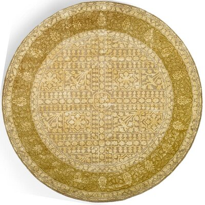 Silk Road Beige/Light Gold Area Rug Rug Size: Round 6