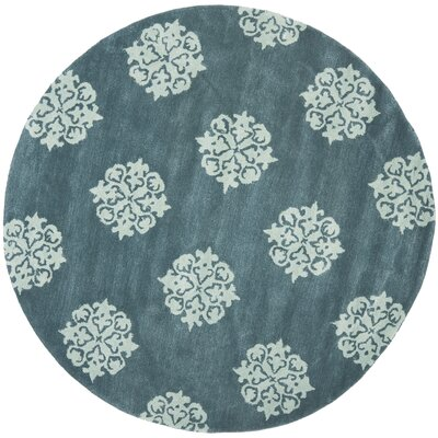 Soho Slate Blue/Light Blue Area Rug Rug Size: Round 6