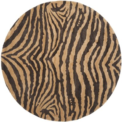 Soho Brown/Gold Area Rug Rug Size: Round 6'