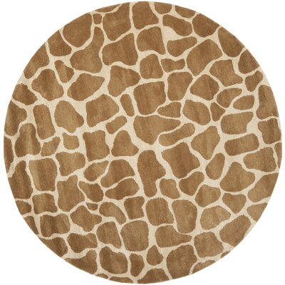 Soho Beige & Brown Area Rug Rug Size: Round 6'