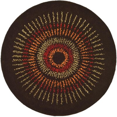 Soho Brown/Gold Area Rug Rug Size: Round 4'