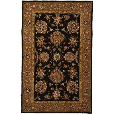 Traditions Masterpiece Black/Gold Area Rug Rug Size: Rectangle 5 x 8