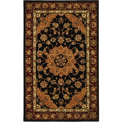 Traditions Black/Burgundy Area Rug Rug Size: Round 8