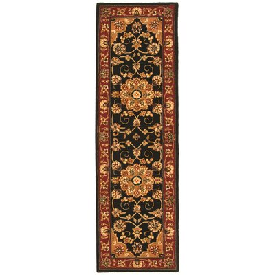 Traditions Black/Burgundy Area Rug Rug Size: Runner 23 x 8