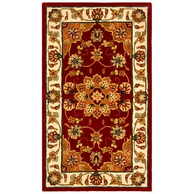 Traditions Red/Ivory Area Rug Rug Size: Round 4