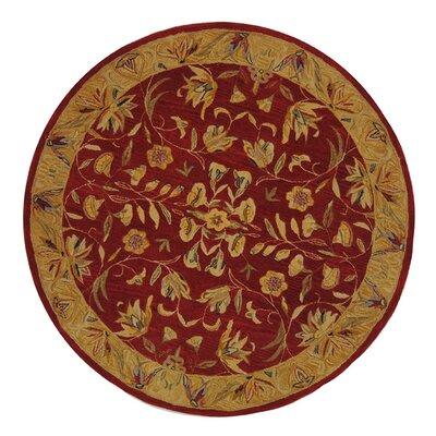 Anatolia Burgundy/Gold Area Rug Rug Size: Round 4