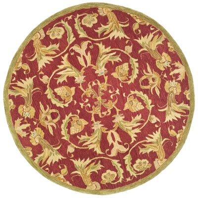 Anatolia Burgundy/Sage Area Rug Rug Size: Round 4