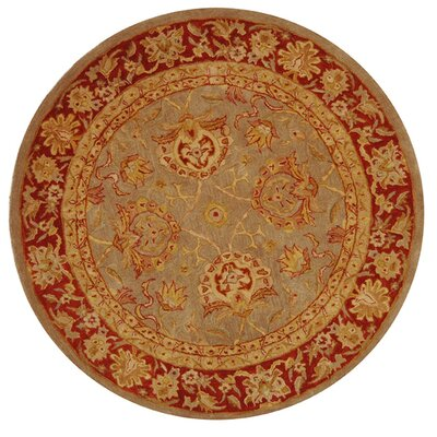 Anatolia Grey/Red Area Rug Rug Size: Round 4