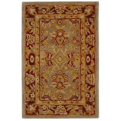 Anatolia Grey/Red Area Rug Rug Size: 5 x 8