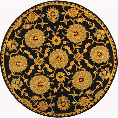 Anatolia Hand-Woven Wool Navy/Gold Area Rug Rug Size: Round 8