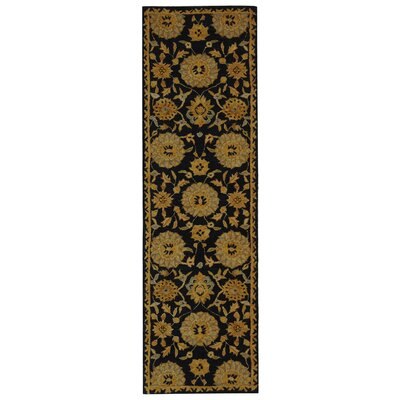 Anatolia Hand-Woven Wool Navy/Gold Area Rug Rug Size: Runner 23 x 8